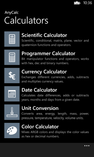 Main screen of AnyCalc